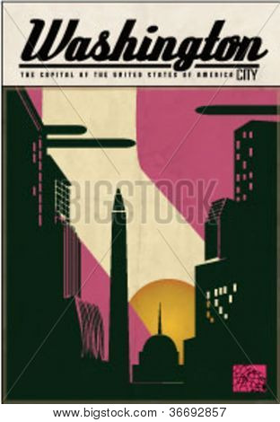 illustration vector of graphical urban cityscape washington