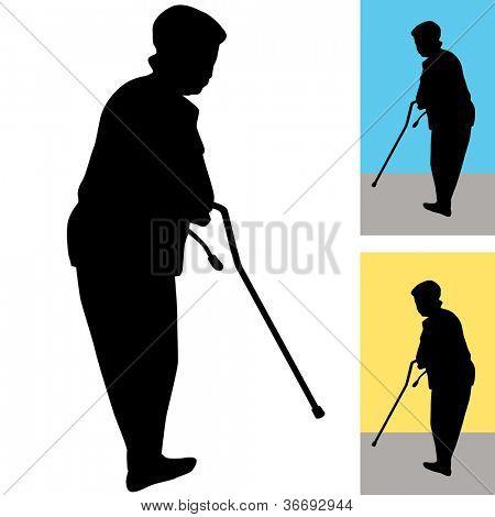 Una imagen de una mujer mayor con un bastón para caminar.