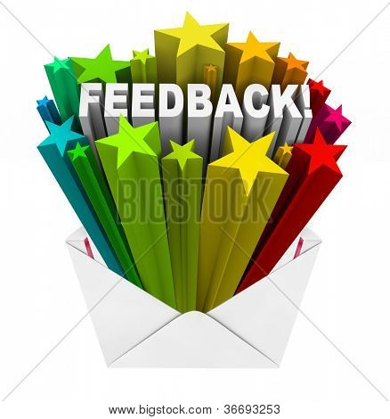 The word Feedback with scores or ratings represented by colorful stars as great reviews for your performance, business, products or service