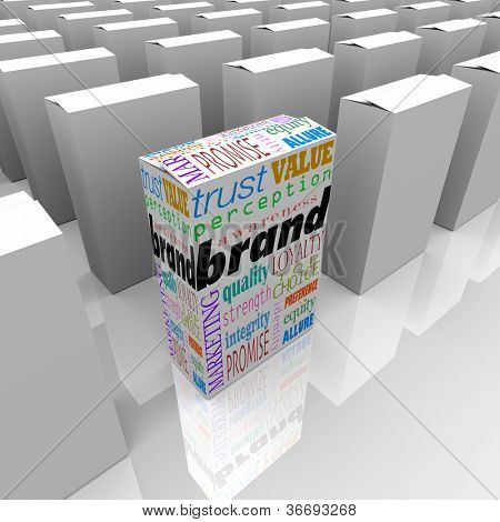 Many boxes on a store shelf, one with the word Brand to differentiate it as being the best choice, most reputable or credible, and top in popularity and loyalty