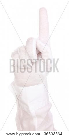 Auditor hand checking cleanliness isolated on white