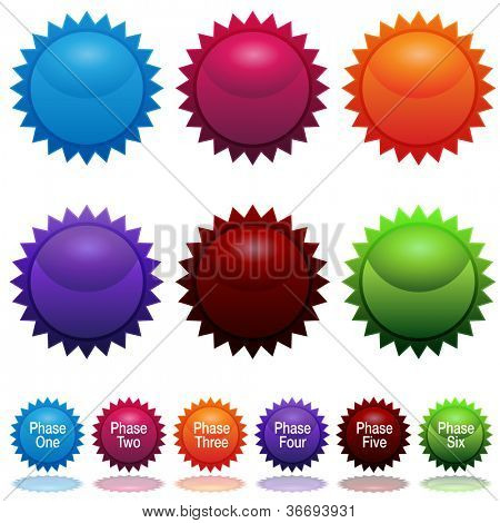 An image of a six phase sun star sticker icon set.