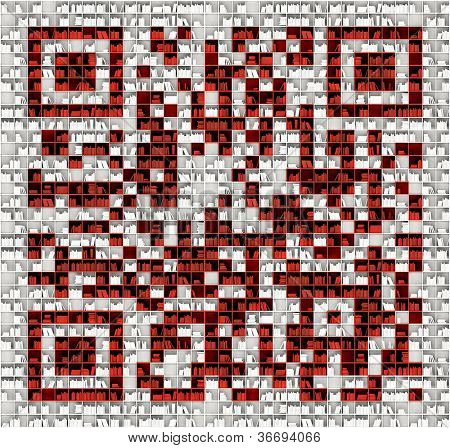 QR code in matrix of bookshelves (illustrated concept)