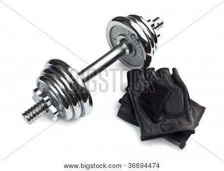 Chromed fitness dumbbell with gloves on white background