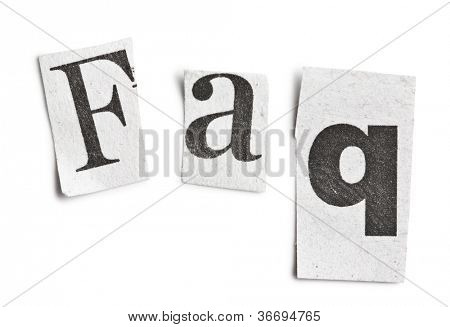 faq word made �?�¢??�?�¢??of newspaper letters on white background