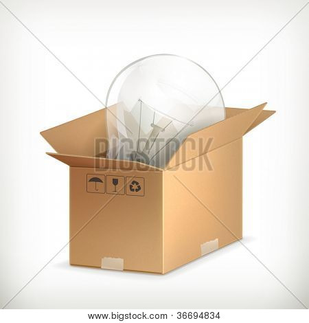 Light bulb in box, bitmap copy