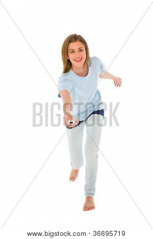 Teenage Girl Using Wii