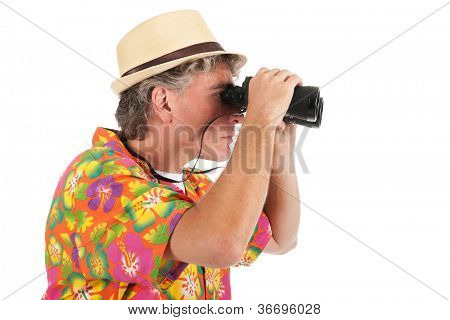 Man as tourist with spyglasses isolated over white background