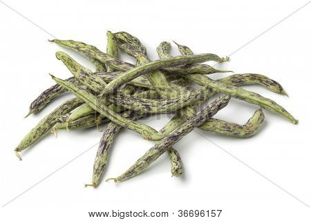 Heap of fresh  Berner Landfrauen beans of  beans on white background