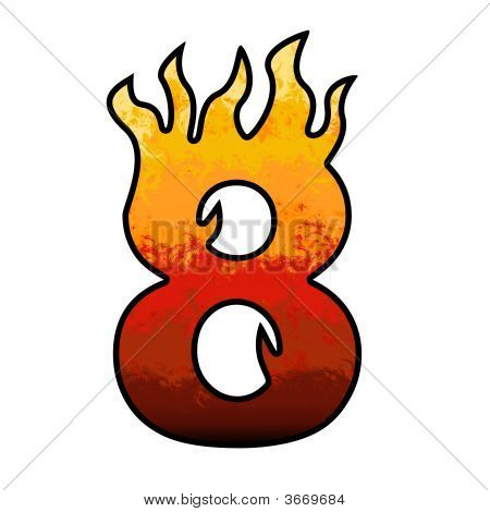 Flames Alphabet Number - 8 Eight