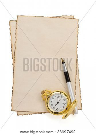 ink pen and watch at parchment isolated on white background