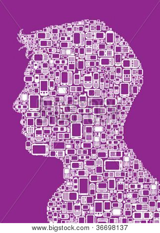 Profile silhouette of man made with Cellphones and Smartphones in purple background