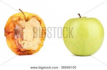 rotten apple and fresh apple as concept of skin problems, isolated on white
