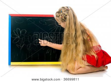 cute little girl with a board. white background