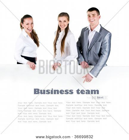 Business team holding the clipboard with copy space for text or design