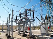 stock photo of substation  - High voltage outdoor electrical substation with transformers - JPG