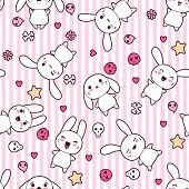 stock photo of kawaii  - Seamless pattern with doodle - JPG