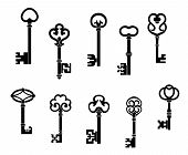 picture of skeleton key  - Old and vintage keys set with secret silhouettes - JPG