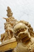 picture of emei  - Golden Buddha statue on Mount Emei summit in china - JPG