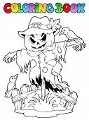 stock photo of scarecrow  - Coloring book Halloween scarecrow  - JPG