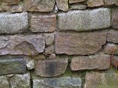 picture of fieldstone-wall  - dry laid stone wall - JPG
