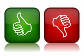 foto of rejection  - Thumbs up and down feedback buttons vector illustration - JPG