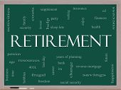 picture of last day work  - Retirement Word Cloud Concept on a Blackboard with great terms such as security pension savings future enjoy and more - JPG
