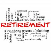 stock photo of last day work  - Retirement Word Cloud Concept in red and black letters with great terms such as security pension savings future enjoy and more - JPG