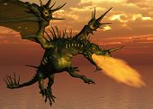 picture of fire-breathing  - 3D render of a fire - JPG
