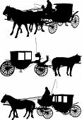 foto of buggy  - Vector Silhouette of a Horse and Buggy - JPG