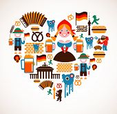 image of accordion  - Heart shape with Germany icons - JPG