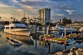 OCEANSIDE, CALIFORNIA - SEPTEMBER 9: Dramatic harbor sunset on September 9, 2012 in Oceanside, Calif