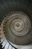stock photo of spiral staircase  - Looking up through the centre of a spiral staircase - JPG