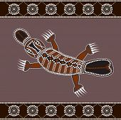 foto of platypus  - A illustration based on aboriginal style of dot painting depicting Platypus - JPG