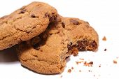 stock photo of irresistible  - half eaten chocolate chip cookie - JPG