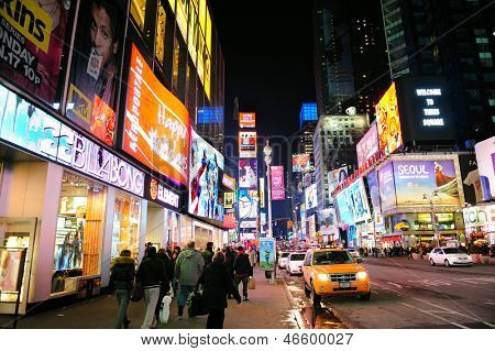 NEW YORK CITY, NY - JAN 30: Times Square is featured with Broadway Theaters and LED signs as a symbol of New York City and the United States. January 30, 2011 in Manhattan, New York City.