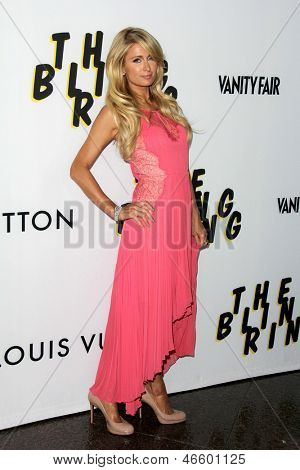 "LOS ANGELES - JUN 4:  Paris Hilton arrivesa at the ""The Bling Ring"" Los Angeles Premiere at the DGA Theater on June 4, 2013 in Los Angeles, CA"