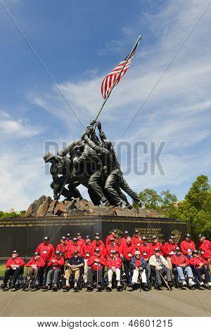 WASHINGTON DC - CIRCA MAY 2013: Iwo Jima Memorial circa May 2013 in Washington DC, USA. Many  veterans visits the Memorial in the framework of various volunteering programs.