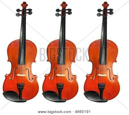 Three Classic Violins Isolated On White Background