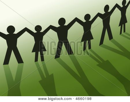 Teamwork People Silhouette Illustration, Community