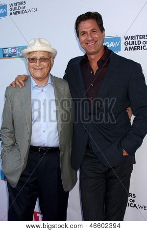 LOS ANGELES - JUN 2:  Norman Lear, Steven Levitan arrives at the WGA's 101 Best Written Series Announcement at the Writers Guild of America Theater on June 2, 2013 in Beverly Hills, CA
