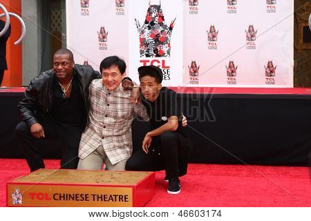 LOS ANGELES - JUN 6:  Chris Tucker, Jackie Chan, Jaden Smith at the Hand & Footprint ceremony for Jackie Chan at the TCL Chinese Theater on June 6, 2013 in Los Angeles, CA