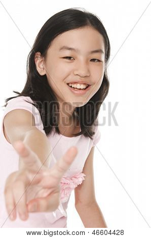 bright picture of lovely girl showing victory sign