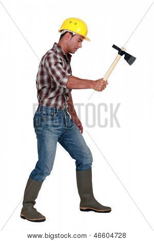 Woodworker with a hatchet