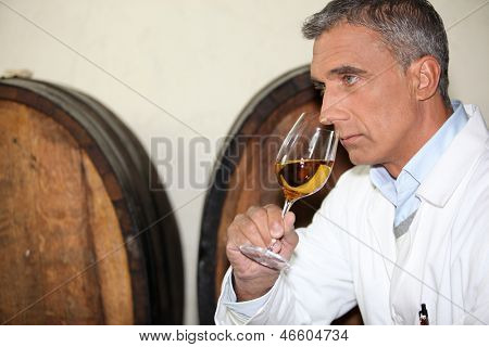 A mature man tasting wine.