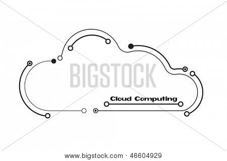 Cloud computing concept showing cloud icons styled like circuit boards against a circuit board background. Also available in vector format.
