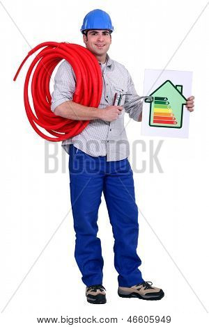 A plumber holding a diagram.