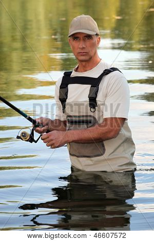 Man fishing in a river