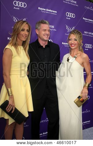 LOS ANGELES - JUN 8:  Kim Raver, Eric Dane, Rebecca Gayheart arrives at the 12th Annual Chrysalis Butterfly Ball at the Private Residence on June 8, 2013 in Los Angeles, CA