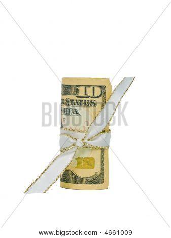 Billete de diez dólares enrollado con una cinta